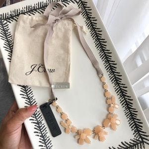 J. Crew Pale Pink Ribbon Tie Statement Necklace